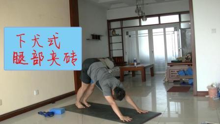 这样夹砖练习下犬式 更好的找到腿部内侧的觉知