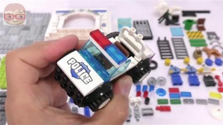 益智玩具: 警用汽车摩托车房子模型 DIY手工组装 积木拼装 趣味儿童玩具 智力玩具