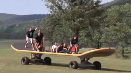 牛人打造世界最大滑板从山坡冲下, 一旦失误后果不堪设想!