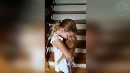 家庭搞笑短片  孩子收到一只小狗当礼物, 当场高兴得哭了