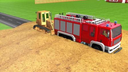 趣味益智动画片 帮助消防车开路