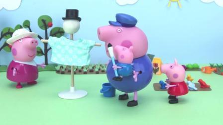 小猪佩奇乔治给小鸟们做了一个鸟窝