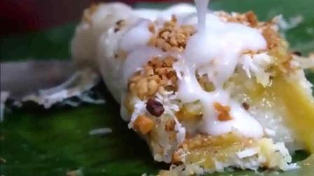 越南小推车上的肉松糯米饭团, 还没吃就饱了!