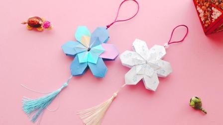漂亮的折纸樱花装饰, 步骤挺简单, 挂在家里很不错!