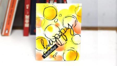 手工手绘涂鸦喷笔立体多彩圆环生日贺卡
