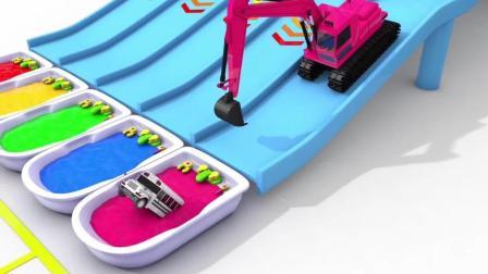 趣味益智动画片 挖掘机把汽车推入染缸