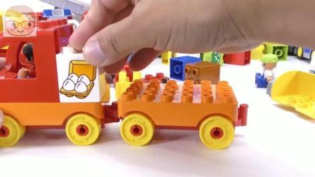 益智玩具: 铲车货车拖车汽车模型 DIY手工安装 趣味儿童智力开发玩具 积木拼装玩具