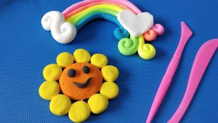 叮叮育儿玩具乐园 DIY手工制作 简单好看粘土做法 制作彩虹 向日葵