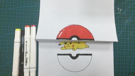儿童创意简笔画 躲在精灵球的皮卡丘