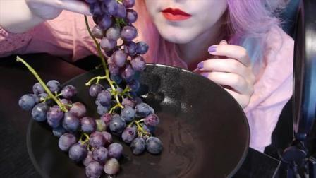 泰国染发妹吃播, 吃新鲜葡萄, 咀嚼声好听极了