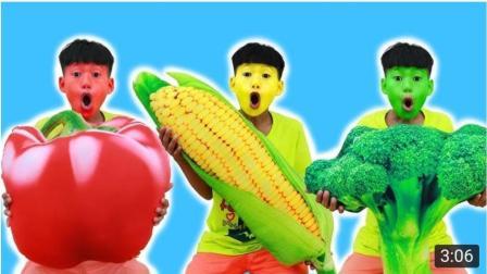 趣玩具, 孩子们假装玩巨型玩具蔬菜并快乐的唱着儿歌