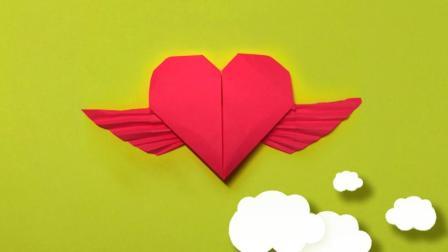 可爱的天使之心折纸, 带翅膀的心形折法, 非常浪漫的折纸作品