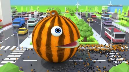趣味益智动画片 巨型大西瓜城市里吃汽车