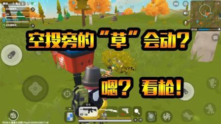 """香肠派对: 空投旁的""""草""""怎么还会动? 哎呦, 给我看枪!"""