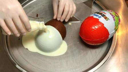 用大号奇趣蛋做炒冰淇淋, 老板说这样能卖30元!
