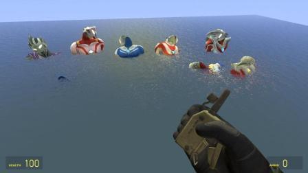 我的世界 7个奥特曼游泳放屁, 被喷上天