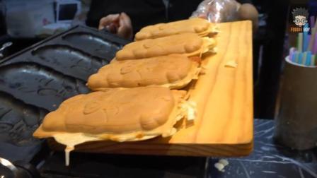 韩国街头美食: 猪形面包, 肉松和芝士经过高温融为一体, 外酥里嫩, 太有嚼劲