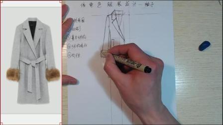 服装手绘款式图皮草的袖子画法