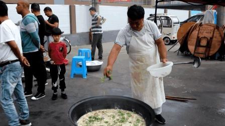 农村办喜事风俗, 街边支起大锅做肉丝鸡蛋汤, 最