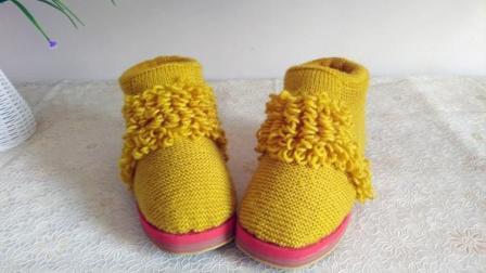 【手工织品】萝卜丝第2段毛线鞋编织视频教程棒针编织棉鞋拖鞋娇嗔花样大全图