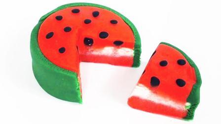月采超Q食玩玩具 151 培乐多橡皮泥手工制作好看美味的西瓜蛋糕
