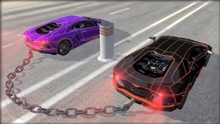 两辆跑车用铁链栓一起, 加速到150公里直接冲过去, 你猜会发生什么?