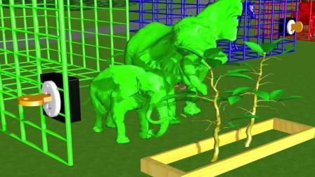 益智: 颜色启蒙, 青蛙老鼠用苹果学英语名称, 帮助大象吃水果变颜色