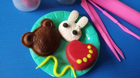 叮叮育儿玩具乐园 DIY创意手工制作彩泥小动物 爱心小兔 小熊