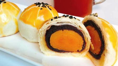 网红蛋黄酥新做法: 在家中做出花样外形, 食材简单, 香脆而不腻