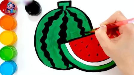 幼儿画西瓜绘画条纹果皮简笔画学颜色