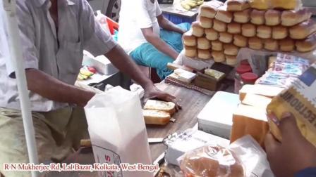 【印度的街头早餐】果冻奶油土司, 看的我有点饿了 ~