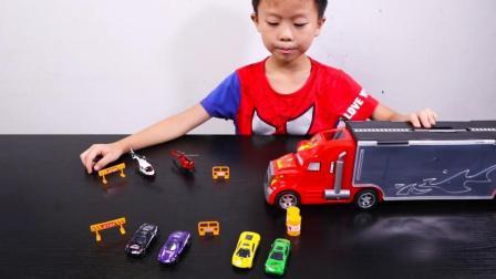 货柜车集装箱玩具套装 4辆合金小赛车和6个路障