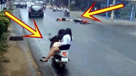 难得一见的车祸, 电动车女孩自摔倒地, 心疼!