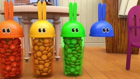 益智: 幼儿早教, 用兔子杯 巧克力和猴宝宝一起学五彩手指歌学颜色识英语