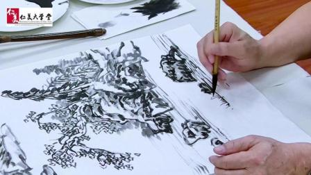 用这几条线就可以画一片湖, 水在中国画中竟这么简单…