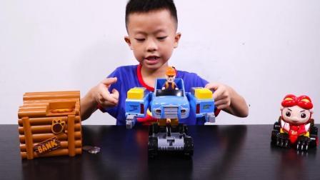 光头强变形车和猪猪侠的变身卡丁车玩具