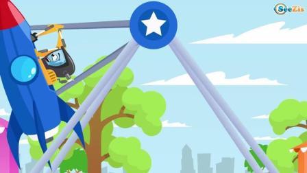 大脚车操控游乐场火箭带着挖掘机上天入地 动画片