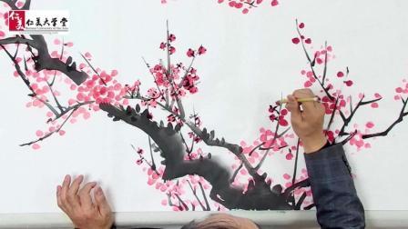 名师国画梅竹创作全过程, 最喜欢这种赏心悦目的创作视频了…