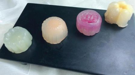 水晶月饼的做法, 简单易做不需烤箱, 内包水果馅, Q弹劲滑, 低糖无油