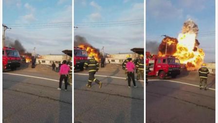 某加油站旁爆炸起火, 冲在最前面的永远都是消防