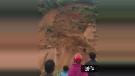 公路突发泥石流, 多辆挖机被坠崖!