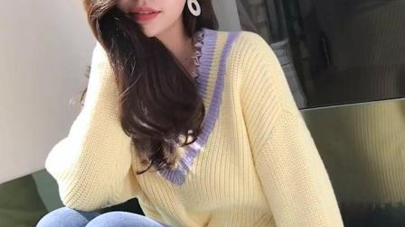 条纹撞色V领毛衣女秋装新款小清新毛边交叉扭结短款针织上衣
