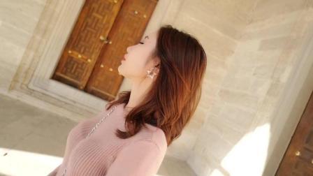 秋冬新款修身显瘦打底针织连衣裙长袖V领毛衣过膝高腰长裙女