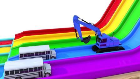 趣味益智动画片 挖掘机把汽车推飞