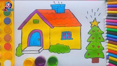 幼儿绘画圣诞树圣诞星简笔画故事 学颜色