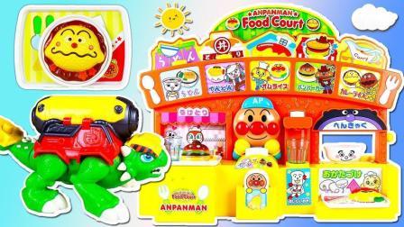 潇潇和玩具 恐龙救援队面包超人汉堡店食玩