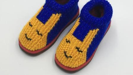 巧手女工编织坊  可爱兔毛线棉鞋编织视频教程, 毛线鞋编织方法(四)