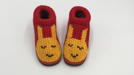 巧手女工编织坊 可爱兔毛线棉鞋编织视频教程, 毛线手工鞋编织(二)