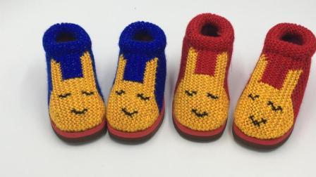 巧手女工编织坊 可爱兔手工毛线棉鞋视频教程 , 手工棉鞋编织方法  (五)