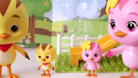 01萌鸡小队的大号发声玩具 小猪佩奇的滑滑梯玩具